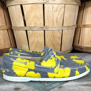 Sperry A/O Canvas Yellow Paint Splatter Boat Shoes